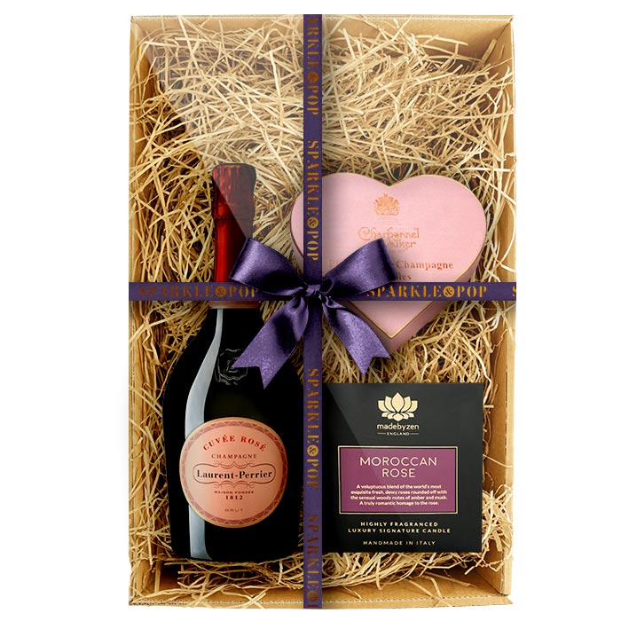 Laurent Perrier Rosé 75cl. with MadebyZen Candle & Charbonnel et Walker Truffles