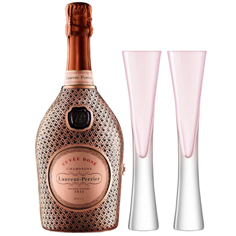 Laurent Perrier Rosé La Robe 75cl Limited Edition & 2 LSA Moya Blush Flutes