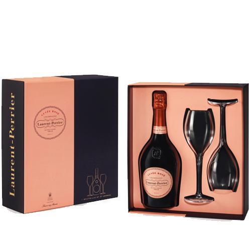 Laurent Perrier Rosé Champagne with 2 Flutes Special Edition Gift Box
