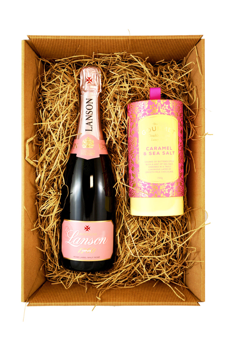 Lanson Rosé Champagne 75cl Gift Set with Bon Bons Gourmet Luxury Biscuits