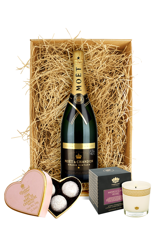 Moet & Chandon 2003 Grand Vintage Rosé, Candle & Truffles Gift Set