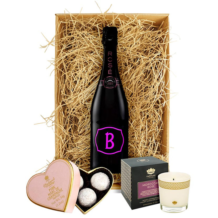 Luc Belaire Rosé Fantome 75cl. with MadebyZen Candle & Truffles Hearts