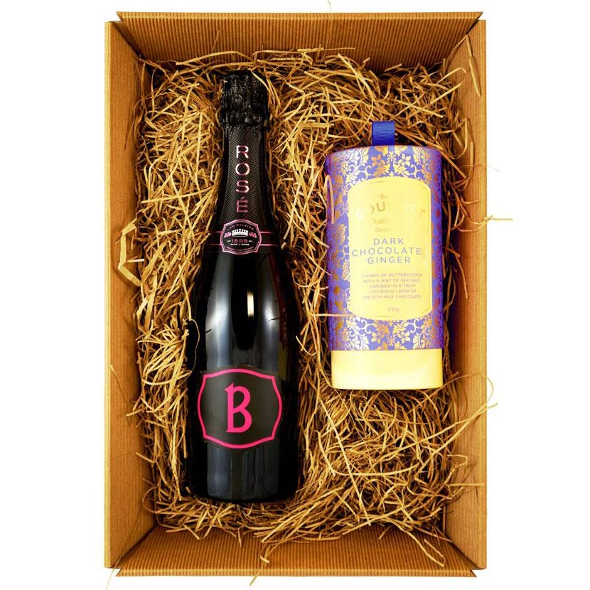 Luc Belaire Rosé Fantome Sparkling Wine 75cl Gift Set with Bon Bons Gourmet Luxury Biscuits
