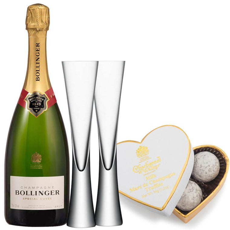 Bollinger Special Cuvée Brut 75cl with 2 LSA Clear Moya Flutes & Truffles