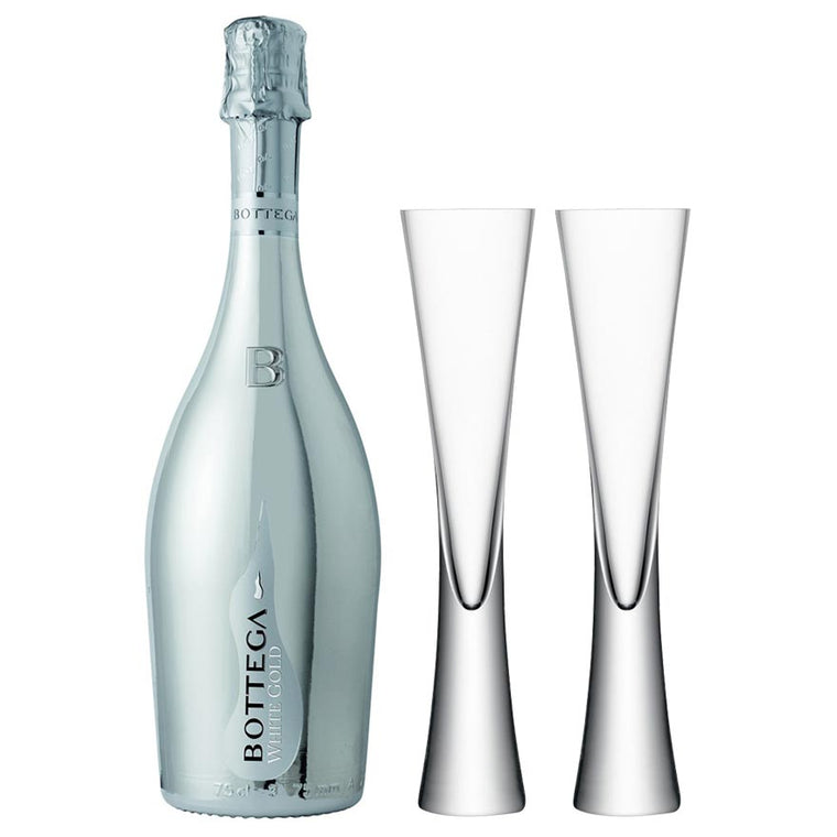 Bottega White Gold 75cl. & 2 LSA Moya Clear Flutes