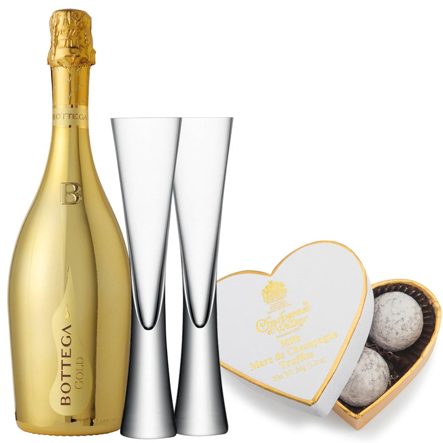 Bottega Gold Prosecco 75cl. with 2 LSA Moya Clear Flutes & Truffles