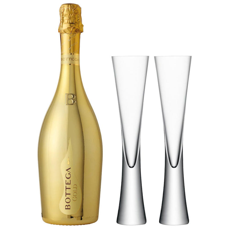 Bottega Gold Prosecco 75cl & 2 LSA Moya Clear Flutes