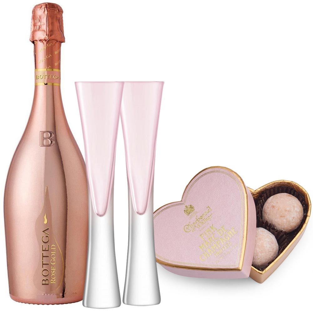 Bottega Rosé & 2 LSA Moya Blush Flutes with Truffles