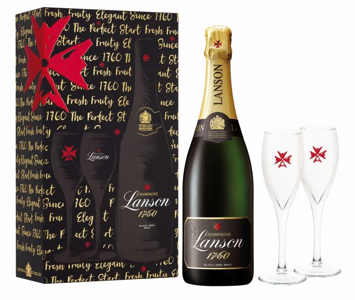 Lanson Perfect Start Black Label 75cl. & 2 Flutes Gift Set