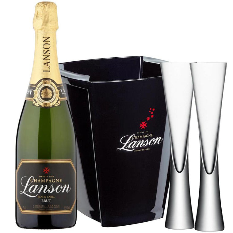 Lanson Black Label Brut, LSA Moya Flutes & Ice Bucket
