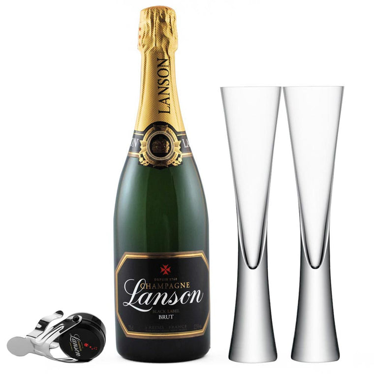 Lanson Black Label 75cl, 2 LSA Moya Clear Flutes & Lanson Stopper