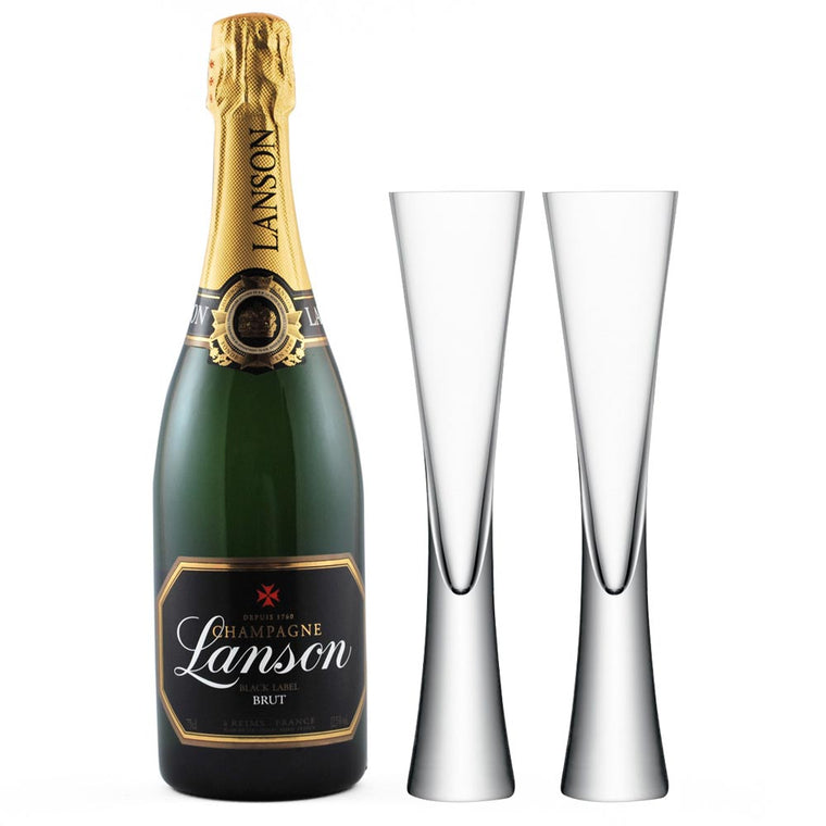 Lanson Black Label 75cl & 2 LSA Moya Clear Flutes