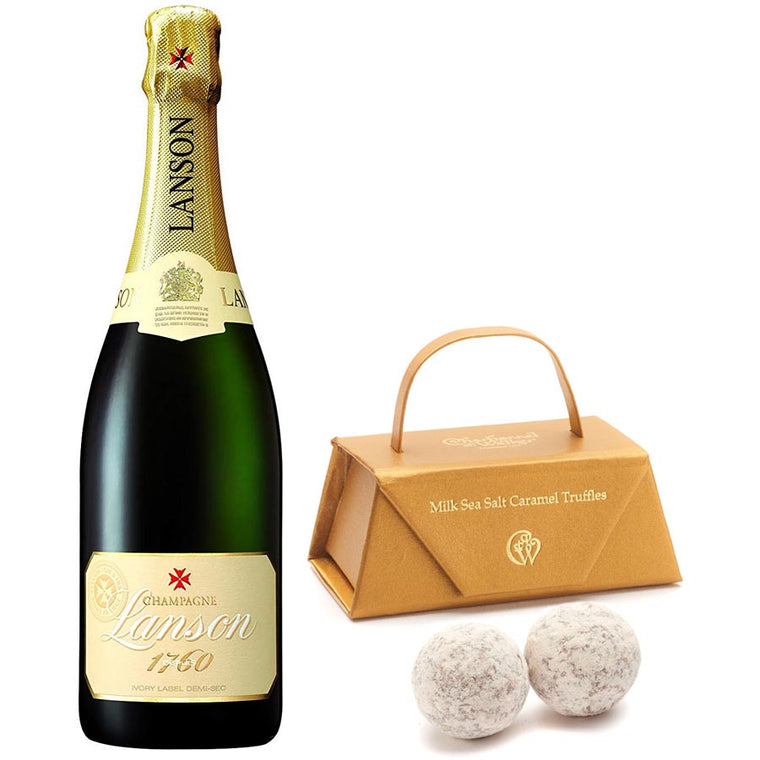 Lanson Ivory Label Demi Sec 75cl. & Milk Sea Salt Caramel Truffles