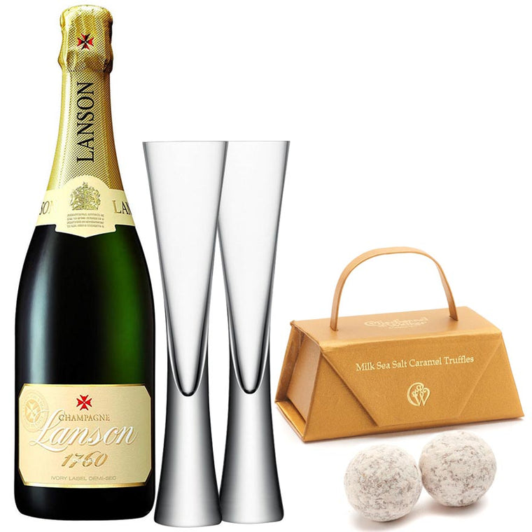 Lanson Ivory Label Demi Sec 75cl. & LSA Moya Flutes with Milk Sea Salt Caramel Truffles
