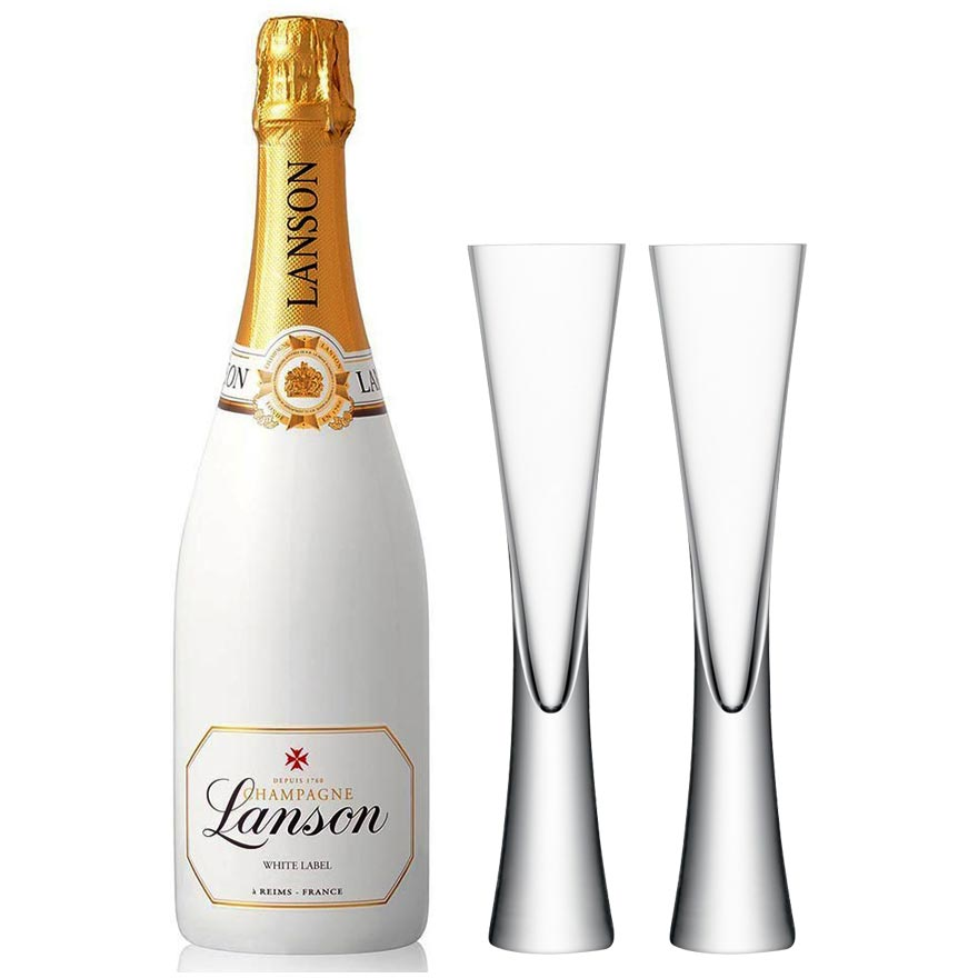 Lanson White Label 75cl & 2 LSA Moya Clear Flutes