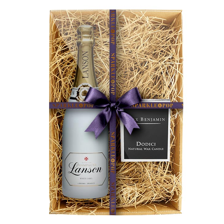 Lanson White Label 75cl. Champagne Gift Set with Max Benjamin's Dodici Luxury Candle
