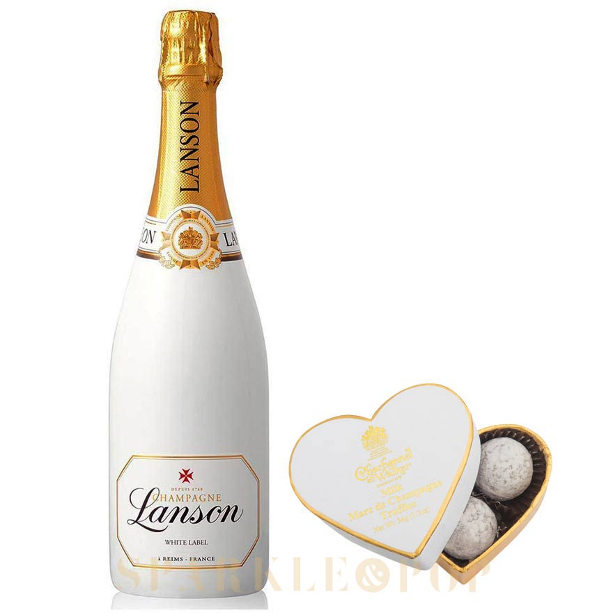 Lanson White Label 75cl & Mini Heart Champagne Truffles