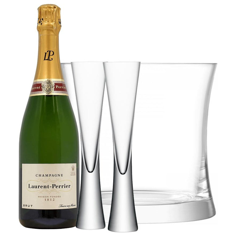 Laurent Perrier Brut NV, LSA Moya Clear Flutes & Ice Bucket