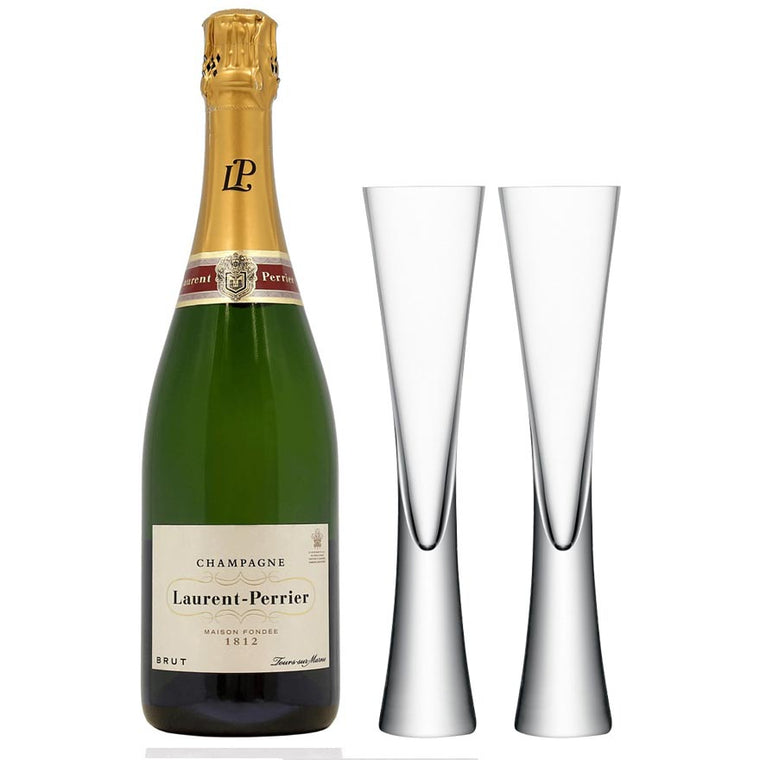 Laurent Perrier Brut Champagne NV 75cl & 2 LSA Moya Clear Flutes
