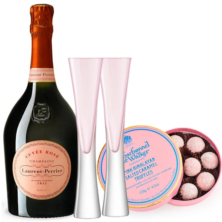 Laurent Perrier Rosé 75cl & 2 LSA Moya Blush Flutes and Pink Himalayan Salted Caramel Truffles