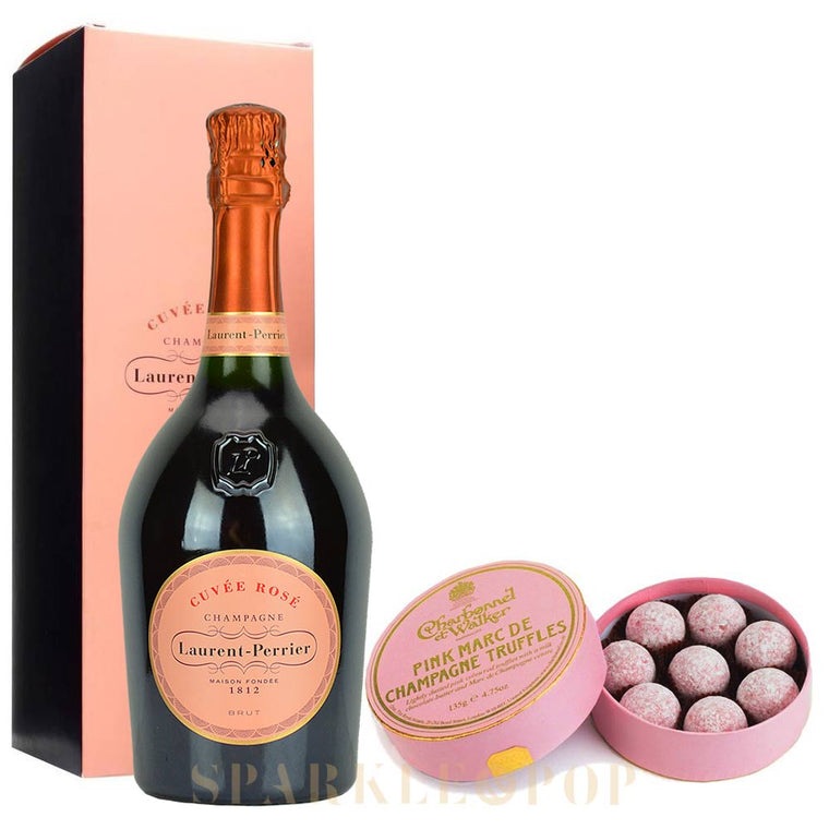 Laurent Perrier Rosé 75cl in Gift Box & Marc de Champagne Pink Truffles