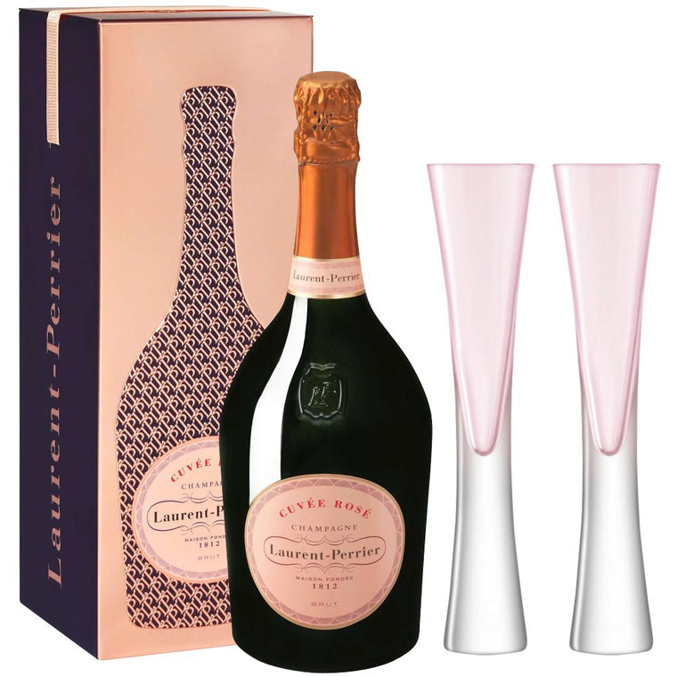 Laurent Perrier Rosé 75cl in Cuveé Rosé Tin & LSA Moya Flutes