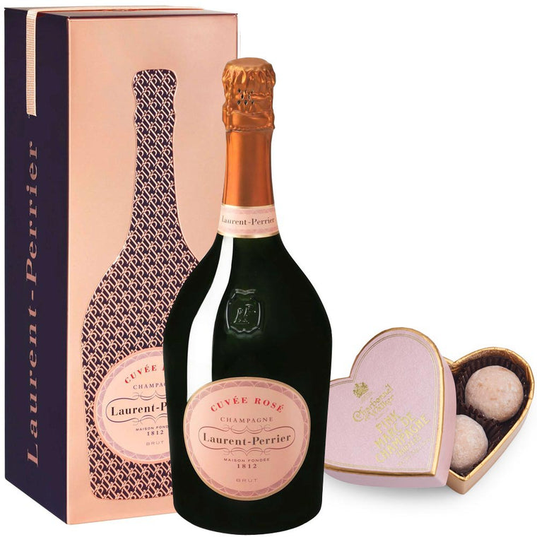 Laurent Perrier Rosé 75cl in Cuveé Rosé Tin & Pink Heart Truffles