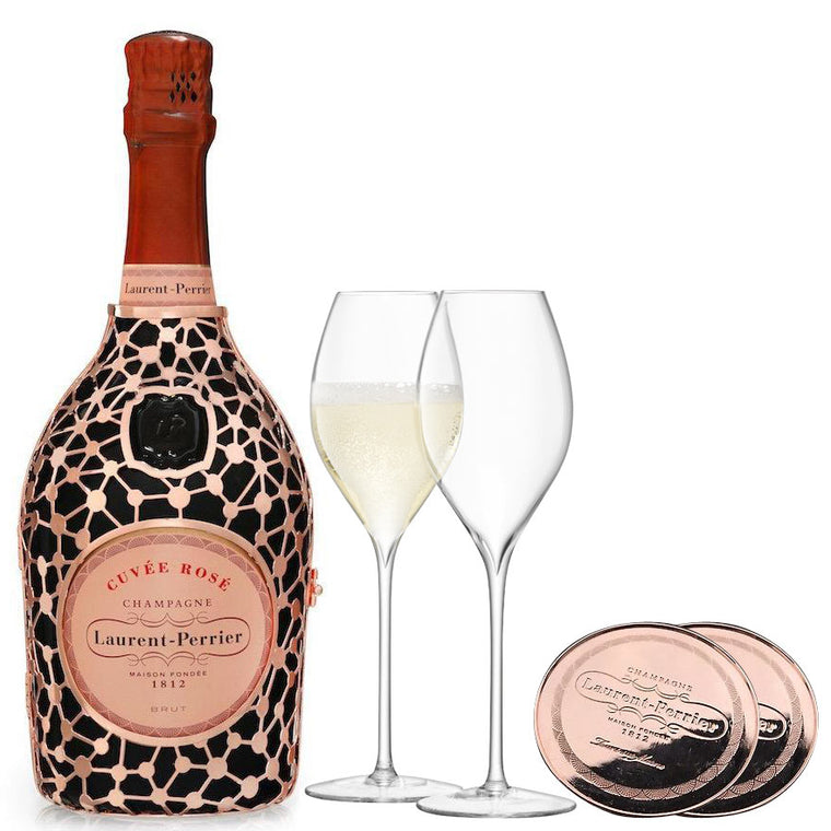 Laurent Perrier Rosé Constellation 75cl, LSA Tulip flutes & Coasters