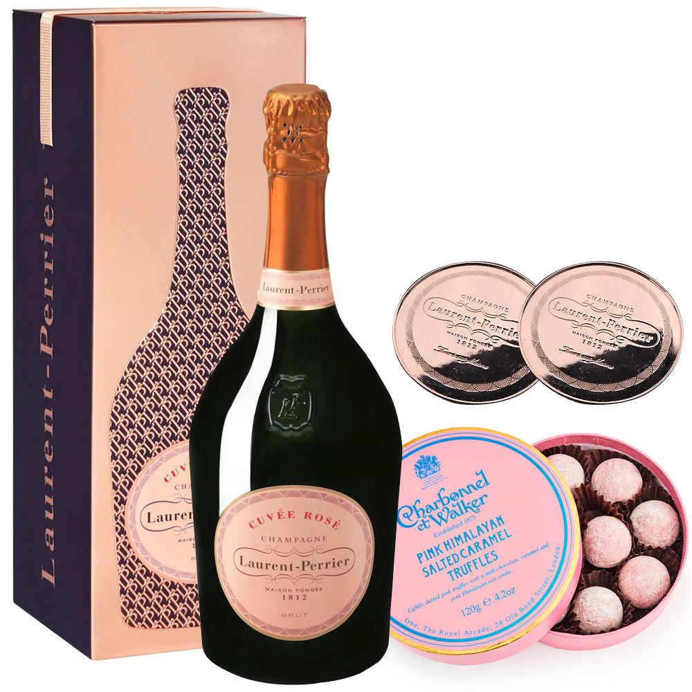 Laurent Perrier Rosé 75cl in Cuveé Rosé Tin, Pink Himalayan Truffles & 2 Coaster