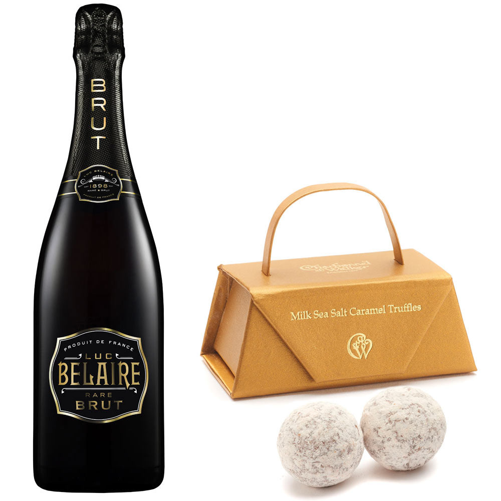 Luc Belaire Brut 75cl. Sparkling Wine & Sea Salt Chocolate Balls