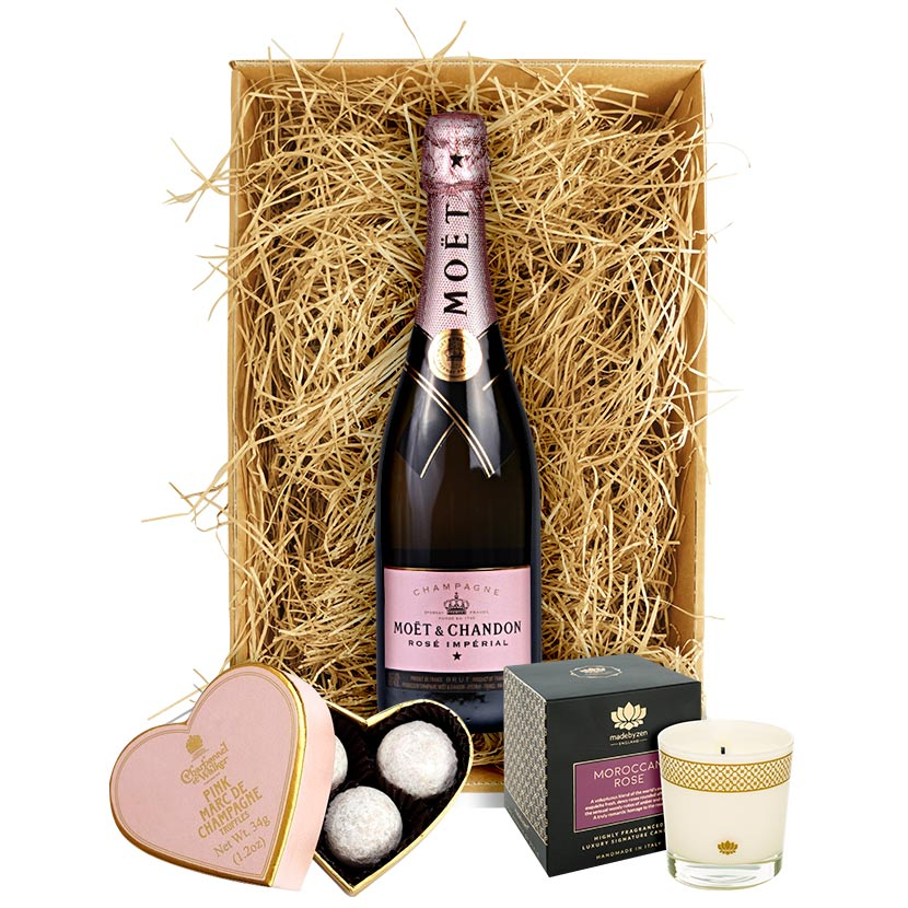 ... Candle Gift · Moet & Chandon Rosé Imperial Champagne, Luxury Truffles & Candle ...