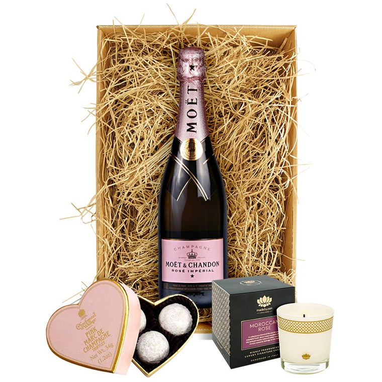 Moet & Chandon Rosé Imperial Champagne, Luxury Truffles & Candle Gift