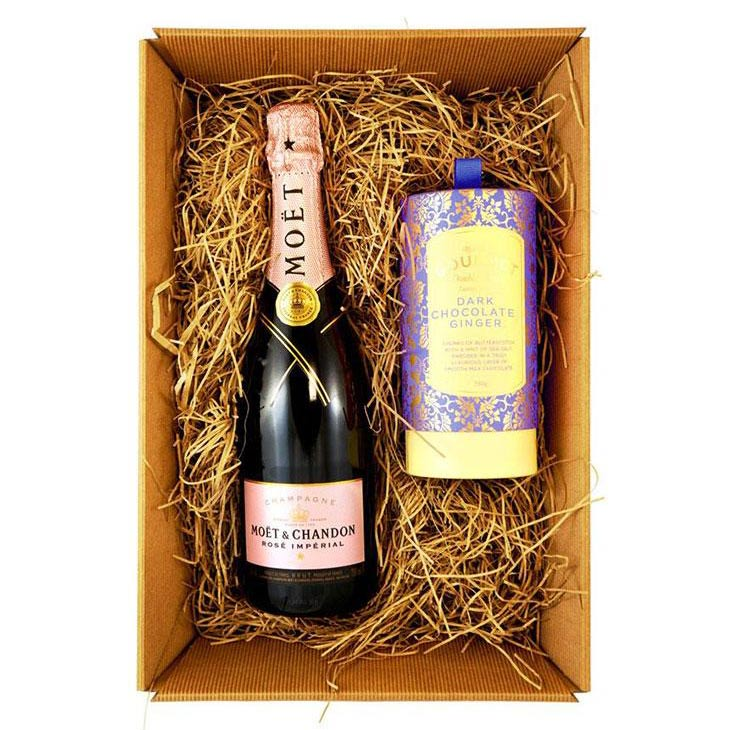Moet & Chandon Rosé Imperial Champagne 75cl Gift Set with Bon Bons Gourmet Luxury Biscuits