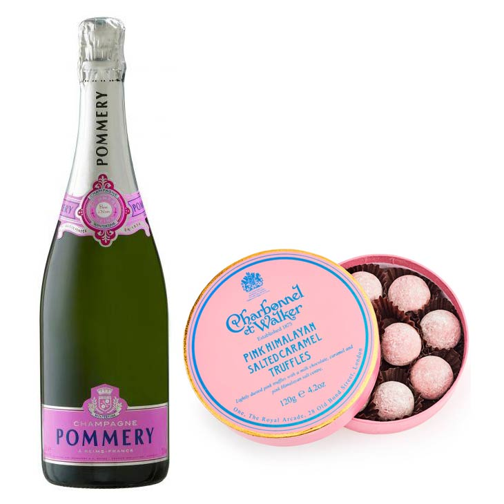 Pommery Rosé Brut Champagne NV 75cl & Pink Himalayan Salted Caramel Truffles
