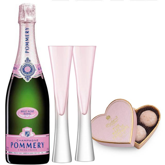 Pommery Rosé Brut Royal Champagne NV 75cl & 2 LSA Moya Blush Flutes and Pink Heart Truffles