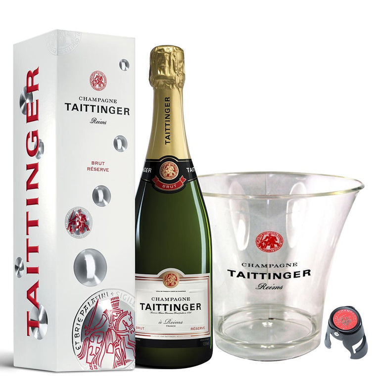 Taittinger Brut NV Champagne 75cl. in Gift Box, Ice Bucket and Stopper