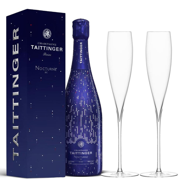 Taittinger Nocturne Sec  75cl in Gift Box & LSA Savoy Flutes