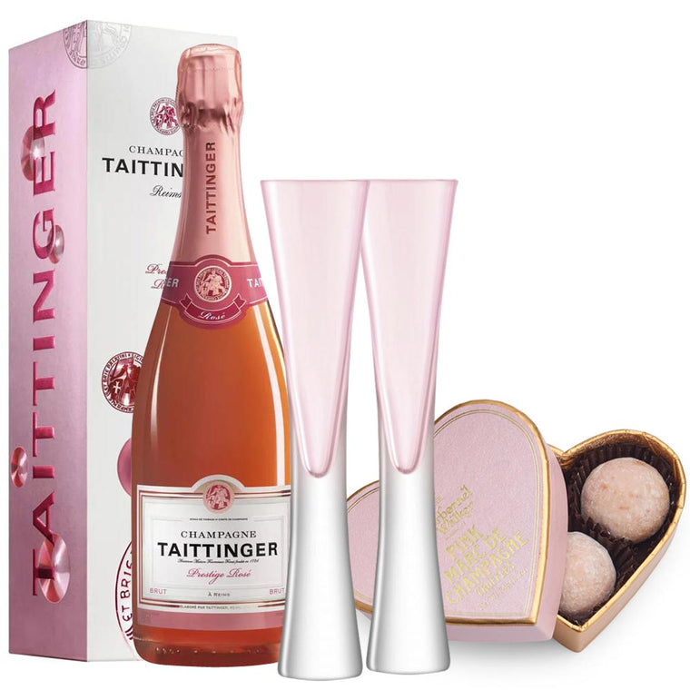 Taittinger Prestige Rosé NV 75cl. in Gift Box with Moya Flutes & Truffles