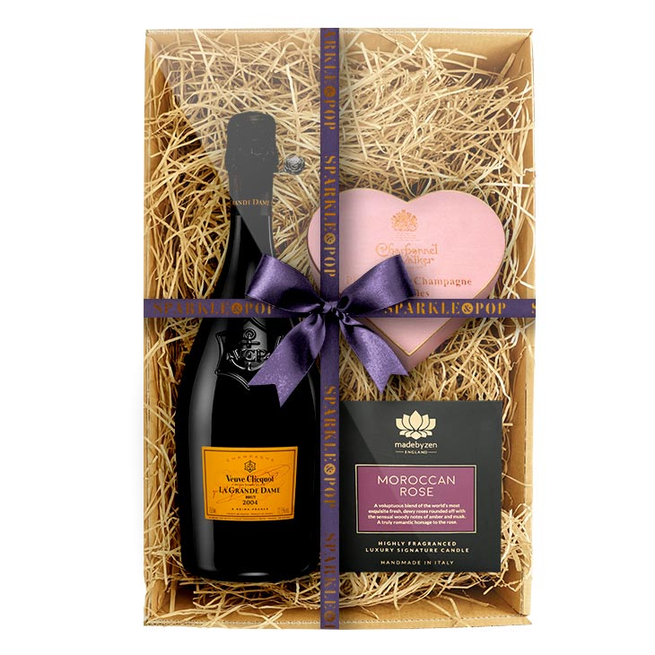 Veuve Clicquot La Grande Dame Brut 2004 with Luxury Candle & Truffles