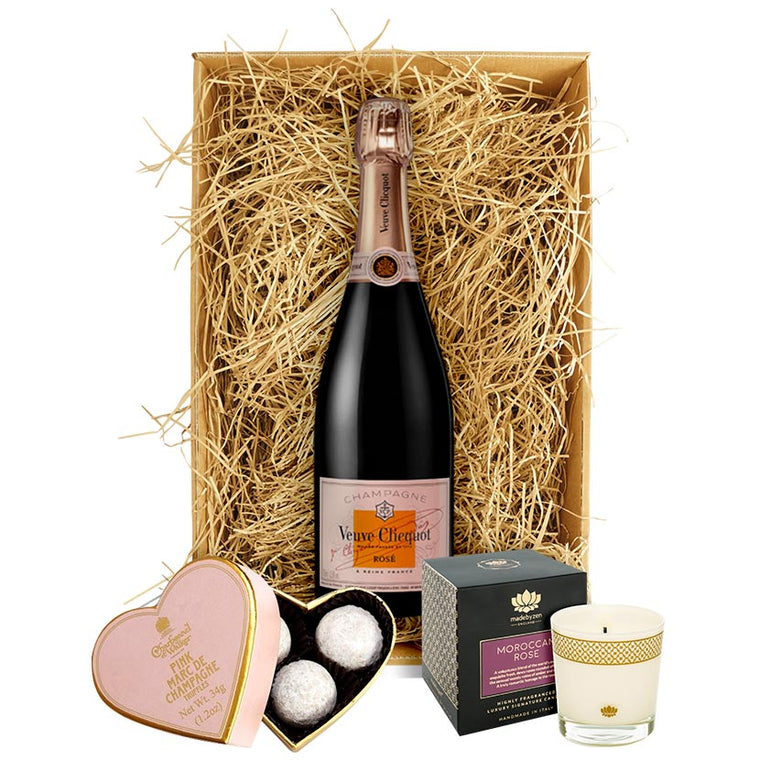 Veuve Clicquot Rosé Imperial Champagne, Luxury Candle & Truffles Gift
