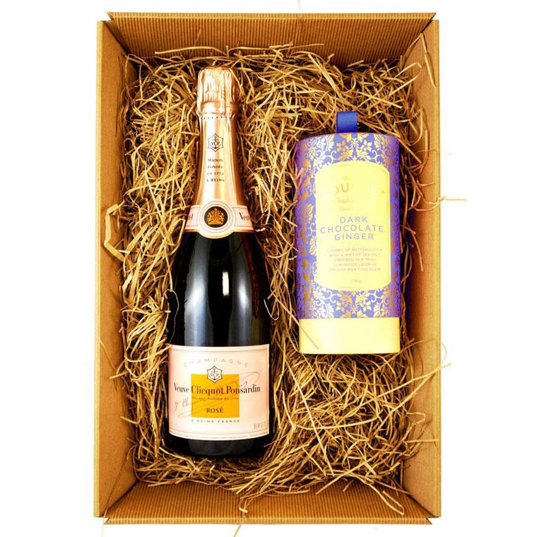 Veuve Clicquot Rosé Imperial Champagne 75cl Gift Set with Bon Bons Gourmet Luxury Biscuits