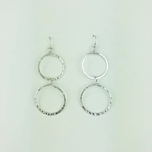 silver double loop earrings
