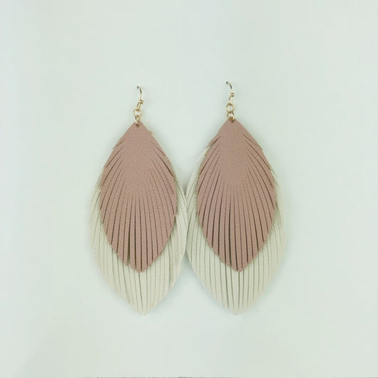 mauve and cream feather earrings