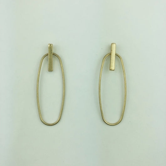 gold geometric oval earrings