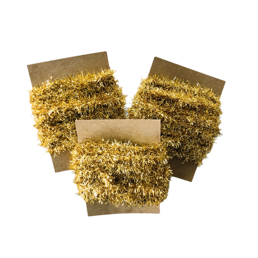 Wired Tinsel Ribbon Gold