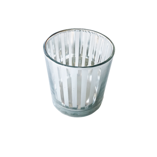 Glass Candle Holder Silver