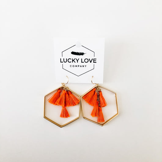 earrings gold and orange tassels