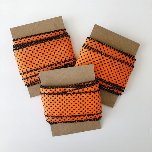 ribbon orange with black polkadots
