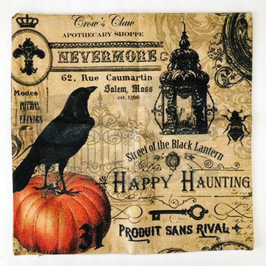 pillow cover crow on pumpkin