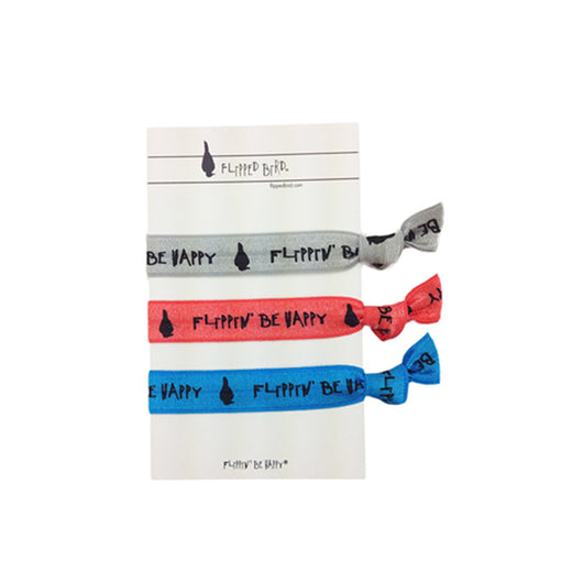 Stretchy Hair Ties 3 pack- Flippin' Be Happy W Card
